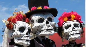 People dressed up in Day of the Dead costumes