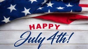 Independence Day image with the United States flag and words Happy July 4th