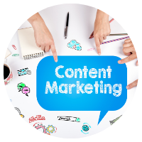 A blue speech bubble with the words Content Marketing in them