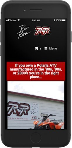 Iphone mockup of the Ritter Cycle Racing, Inc website